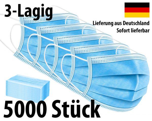 Maske 3-lagig Mundschutz Mund-Nasen-Schutz - 5000 Stück